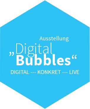 Blaue Kachel, Ausstellung Digital Bubbles