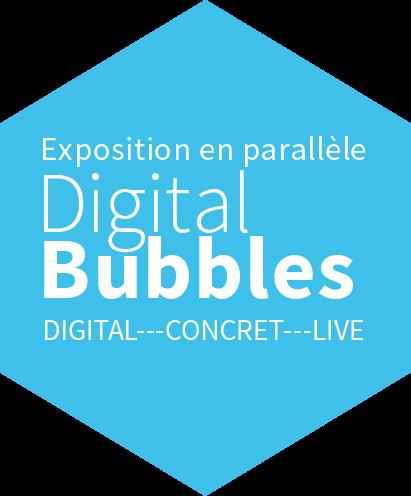 En bleu: Exposition en parallèle Digital Bubbles